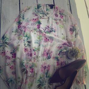 H&M Sheer Floral Maxi Dress w/ built in slip 