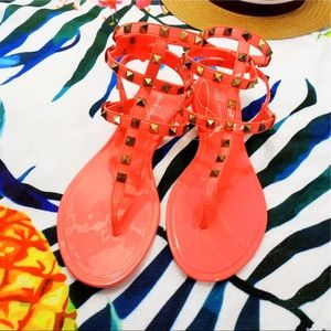 Shoes - Coral Studded Gladiator Jelly Sandals NWOT