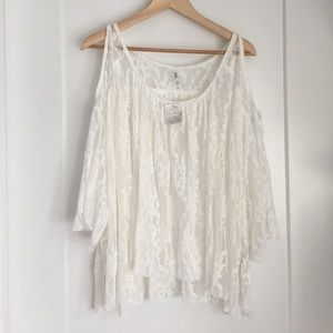 Free People Cold Shoulder Swing Lace Top Small NWT