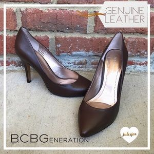 BCBGeneration Shoes - BCBG chocolate genuine leather classic pumps  9.5