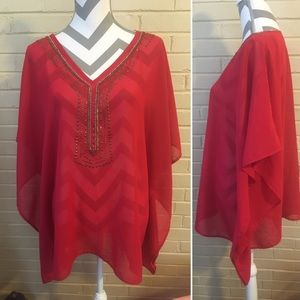 Chico's Tops - Chico's Sheer Red Tunic Blouse Size L/XL Sequins