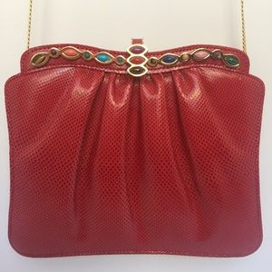 Judith Leiber Handbags - Ashniel Snakeskin Clutch with Cabochon Gem Design