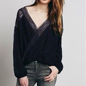 Free People Tops - Free people size S oversized black lace top