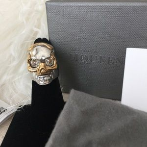 Alexander McQueen Jewelry - Alexander McQueen Skull Silver and Gold Toned Ring