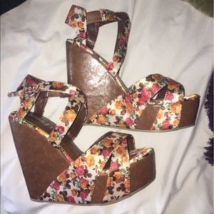 Floral and brown wedges! NEVER WORN