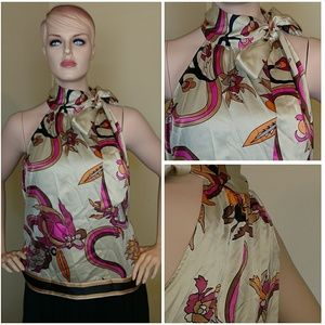 Tops - Multi color Sleeveless blouse with bow at neck