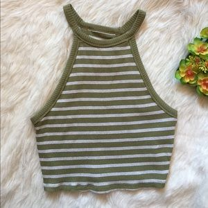 Hollister green and white striped halter crop top