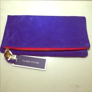 Clare Vivier Handbags - Electric blue suede Clare Vivier clutch