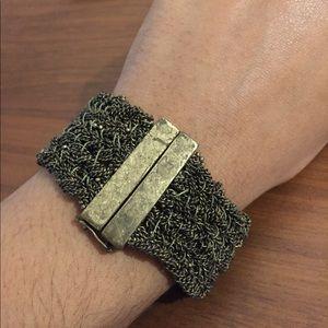 Jewelry - Antiqued brass bracelet w woven thread