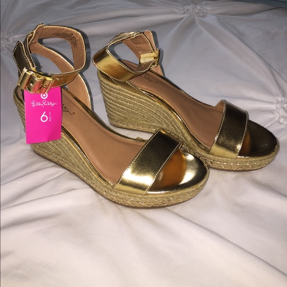 aba0ab8dd07382 Lilly Pulitzer for Target Shoes | Gold Wedge Espadrilles | Poshmark