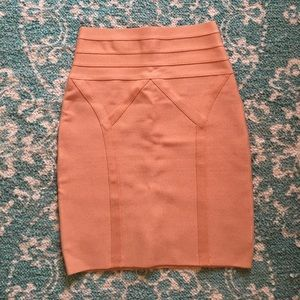 Bebe Bodycon Metallic Peach Skirt