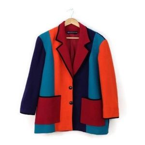 Vintage Jackets & Blazers - Vintage Color blocked Wool Blazer Jacket