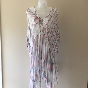 Tops - Multi colored crochet type coverup/top