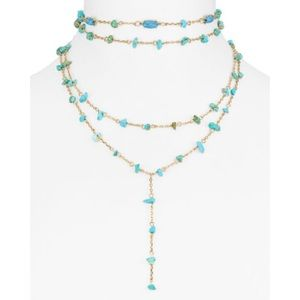 NWT BaubleBar Mitra Turquoise gold y choker