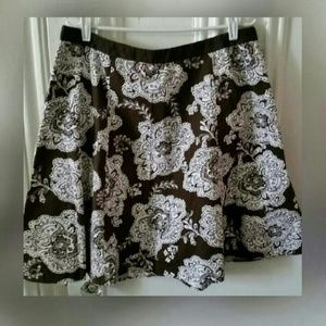 Talbots Petite Brown A-line Skirt w/Cream Flowers