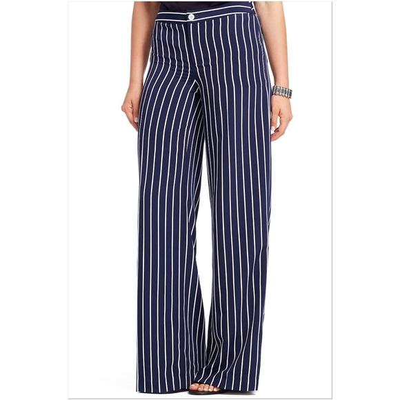 77a5be2ff7 Lauren Ralph Lauren Pants | Ralph Lauren Navy Striped Wideleg | Poshmark