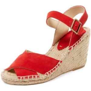 Soludos Shoes - Soludos Red Criss Cross Espadrille Wedges Size 8