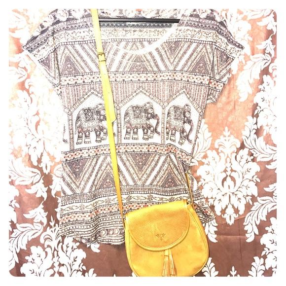 Vintage Handbags - NWOT VTG 100% TOOLED MUSTARD LEATHER FRINGE BAG