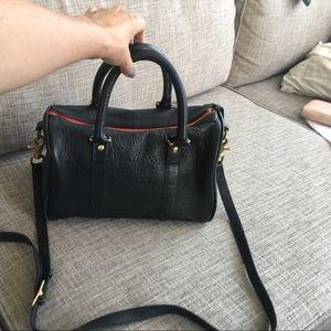 Clare Vivier Handbags - CLARE V PETIT DUFFLE NAVY W RED ZIPPER