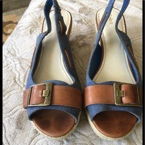 Reba Shoes - Reba denim & leather wedge sandals