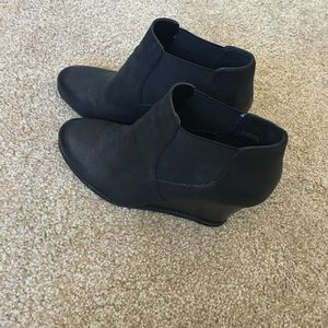 Black ankle bootie wedges.