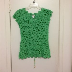 Harold's Tops - Green, crocheted linen/cotton tee, size small