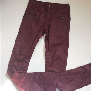 Divided Pants - Faux red leather skinny pants!