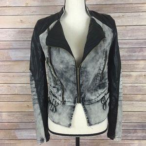 BKE Jackets & Blazers - BKE Cropped Moto Jacket Acid Wash Black Gray S