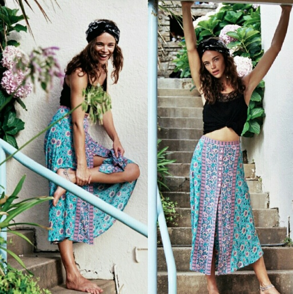authentic special section exclusive deals New arnhem kauai midi skirt floral turquoise pink NWT