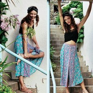 New arnhem kauai midi skirt floral turquoise pink