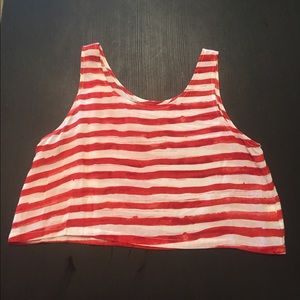 Piko 1988 Tops - PIKO1988 S red and white watercolor stripe crop