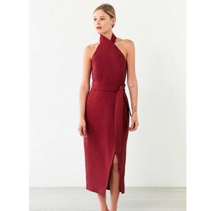 🔥 C/MEO Faux Wrap Halter Dress