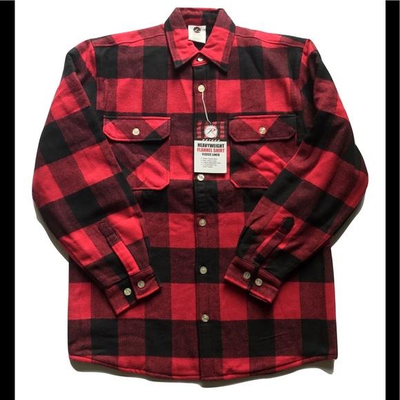 41ea2cc0bb2 Rothco Mens Fleece Flannel Shirt Red   Black Plaid
