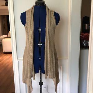 Belldini Sweaters - Belldini Beige Drapey Loose Sleeveless Cardigan