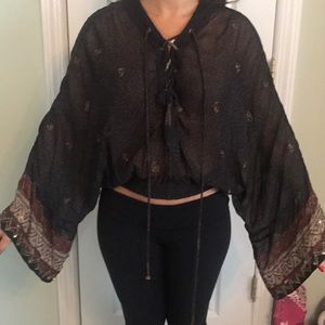 Free People Beaded Blouse Size Petite Small