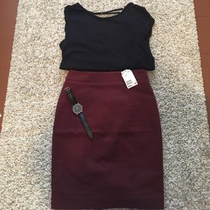 NEW Burgundy Pencil Skirt
