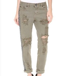 One Teaspoon Green Ripped Jeans Size 26