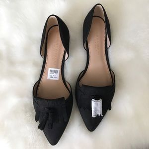 Christian Siriano Shoes - •new• black faux suede tassel flats