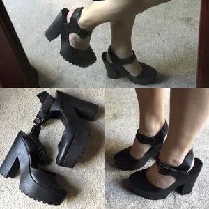 Zara platform Mary Jane ankle strap leather 39
