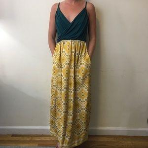 Anthropologie Dresses & Skirts - NWT Edme & esyllte Yellow Teal Maxi Silk Dress