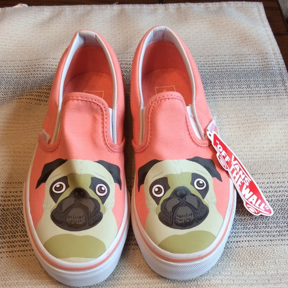 b40764bb45 Vans RARE Pug Puppy Burnt Coral Slip Ons