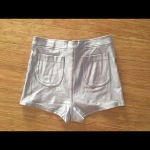 American Apparel Pants - American Apparel Silver Disco Shorts
