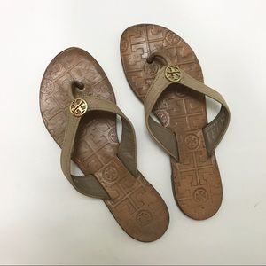 Tory Burch Shoes - Tory Burch Thora Leather Taupe Flip Flops Sandals