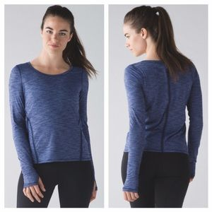 Lululemon Intensi-Tee LS Heathered Hero Blue