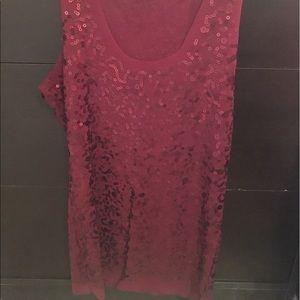 Sheer burgundy sequin tank