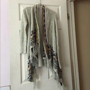 Knit Fringe Tribal Print Cardigan