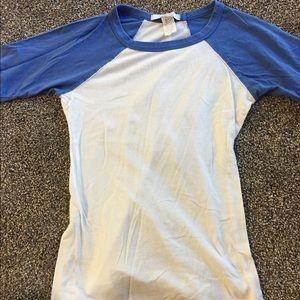 Charlotte Ronson Tops - Blue and White Baseball Tee