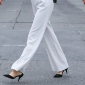 Wide leg white trouser/pant