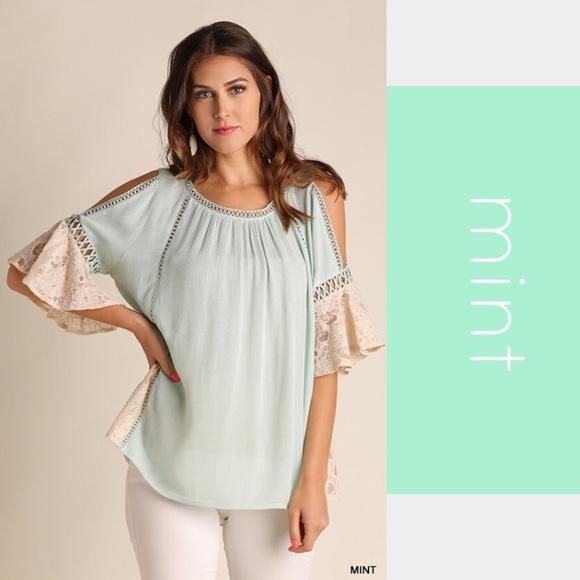 4ffa3783ec37f Mint Green Cold Shoulder Top With Lace