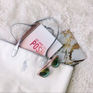 RALPH LAUREN white+silver large tote bag